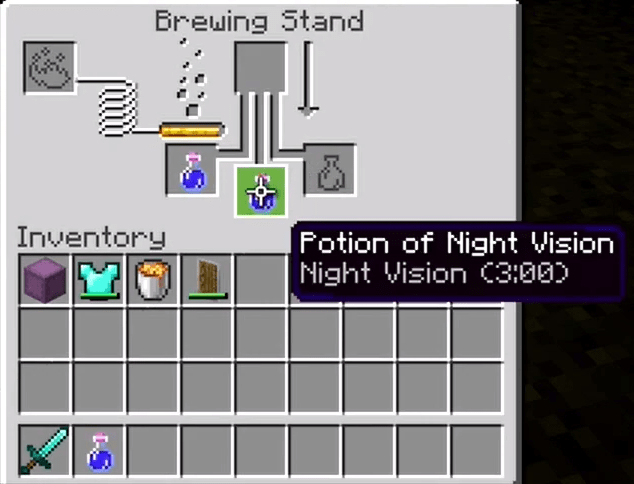 How to make a night vision potion in Minecraft 3:00